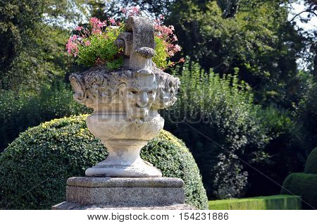 Historical Flowerpot With Human Head Statue In Castle Garden