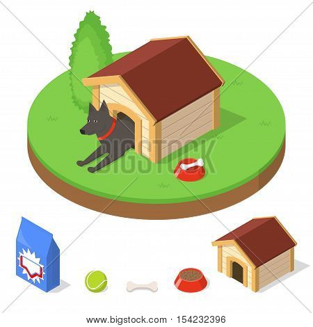 Dog in dog house. Kennel and other dogs objects stuff. Isometric vector illustration
