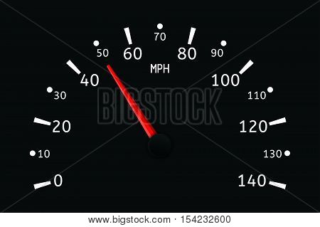 Speedometer. Vector illustration. MPH scale on black.
