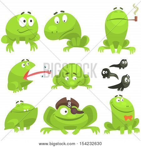 Green Frog Funny Character Set Of Different Emotions. Flat Bright Color Isolated Funny Toad In Different Situations On White Background,