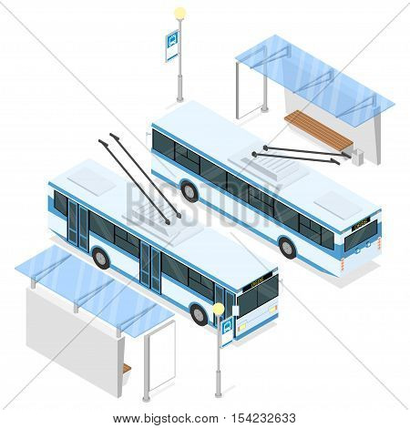 Trolleybus and trolley bus shelter. Both sides views. Isometric vector illustration isolated on white background.