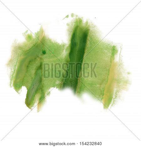 ink splatter watercolour green dye liquid watercolor macro spot blotch texture isolated on white