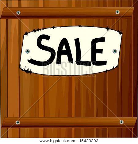 Vector Big Sale Sign On Wood
