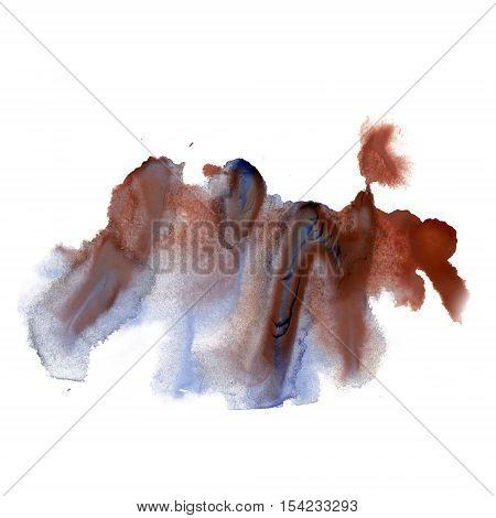 ink splatter watercolour dye blue brown liquid watercolor macro spot blotch texture isolated on white