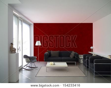 modern living room with maroon wall and copy space for your own images