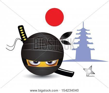 Smiley dressed as ninja. Illustration of a ninja warrior. Traditional school of martial arts.