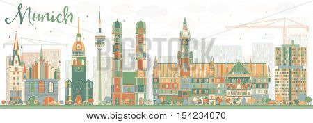 Abstract Munich Skyline with Color Buildings. Vector Illustration. Business Travel and Tourism Concept with Historic Architecture. Image for Presentation Banner Placard and Web Site.