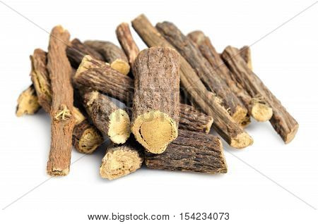 Licorice Or Liquorice Root Sticks Isolated On White Background
