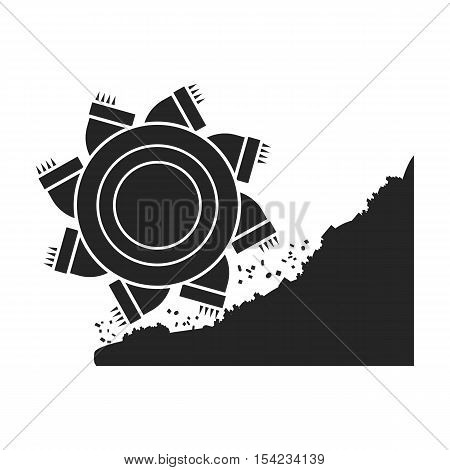 Bucket-wheel excavator icon in black style isolated on white background. Mine symbol vector illustration.