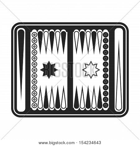 Backgammon icon in black style isolated on white background. Board games symbol vector illustration.