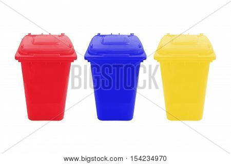 Yellow Red and blue Bin for Waste separate collection isolated on white background.