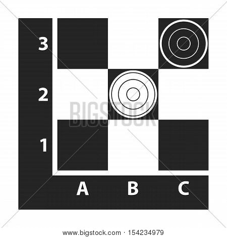 Checkers icon in black style isolated on white background. Board games symbol vector illustration.
