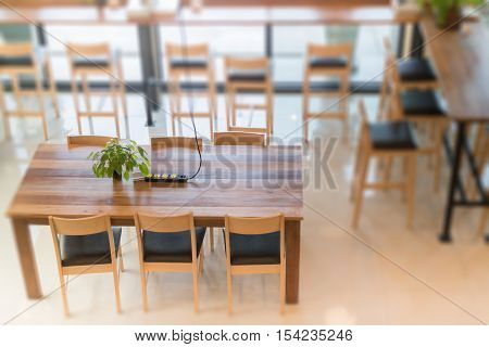 Interior blur of street coffee shop, stock photo