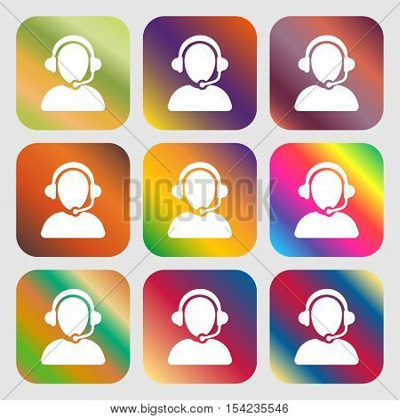 Customer Support Icon Sign. Nine Buttons With Bright Gradients For Beautiful Design. Vector