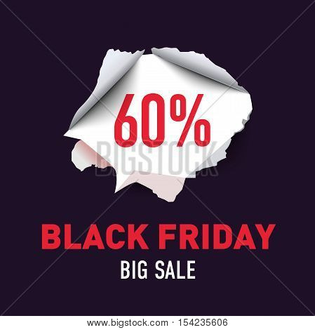 Torn hole in the sheet of red paper. Black Friday. Big sale background. Vector illustration