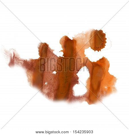 ink splatter watercolour dye liquid watercolor macro spot blotch texture brown isolated on white
