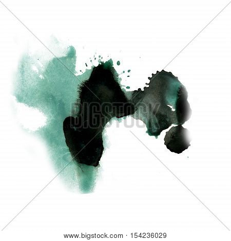 ink splatter watercolour dye liquid watercolor macro spot blotch texture blue black isolated on white