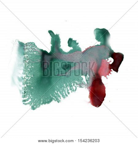 ink splatter watercolour dye liquid watercolor macro spot blotch texture isolated green red on white