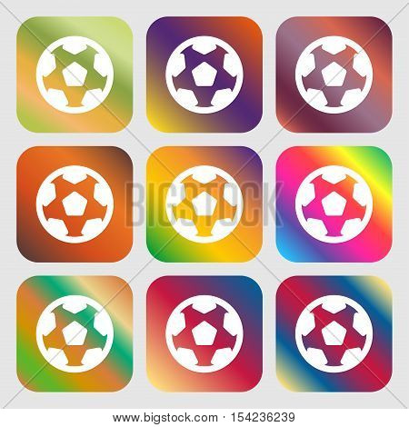 Football, Soccerball Icon Sign. Nine Buttons With Bright Gradients For Beautiful Design. Vector