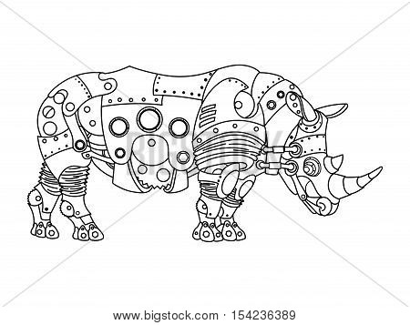 Steampunk style rhinoceros. Mechanical animal. Coloring book for adult vector illustration.