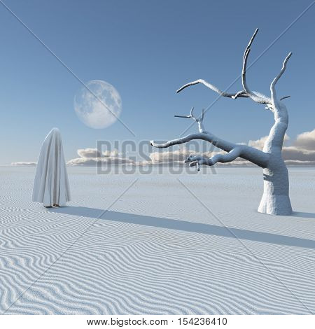 Figure covered by cloth in desert   3D Render  Some elements provided courtesy of NASA
