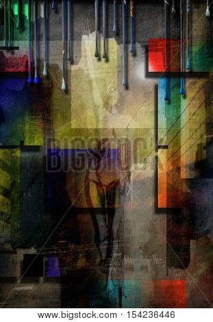 City Abstract with nude   3D Render