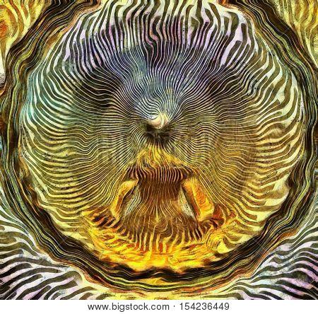 Meditating Man and Energy   3D Render