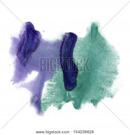 splatter ink watercolour green purple dye liquid watercolor macro spot blotch texture isolated on white poster
