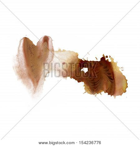 splatter ink watercolour brown dye liquid watercolor macro spot blotch texture isolated on white