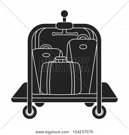 Luggage cart icon in black style isolated on white background. Hotel symbol vector illustration.