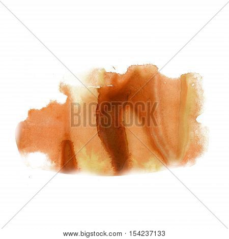 splatter ink watercolour yellow brown dye liquid watercolor macro spot blotch texture isolated on white