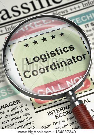 Newspaper with Small Ads of Job Search Logistics Coordinator. Column in the Newspaper with the Jobs of Logistics Coordinator. Hiring Concept. Blurred Image with Selective focus. 3D Illustration.