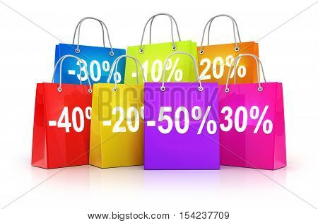 Many shop bag and discount (done in 3d rendering)