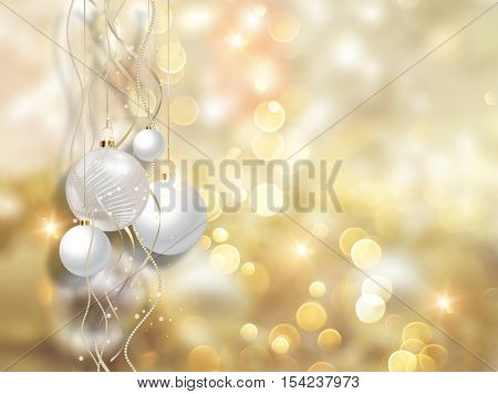Christmas baubles handing on a bokeh lights background