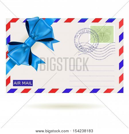 Air mail envelope with blue ribbon bow. Vector illustration isolated on white background