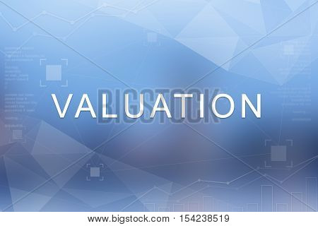 Valuation word on blue blurred and polygon background
