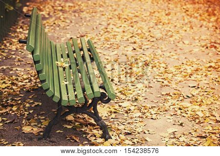 Empty Green Wooden Bench, Old Style