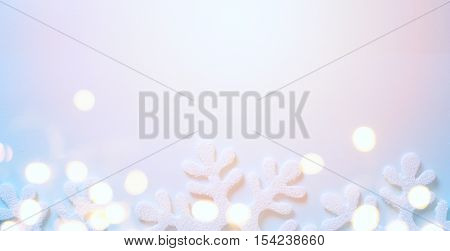 Christmas holidays light background with Christmas trees decoration