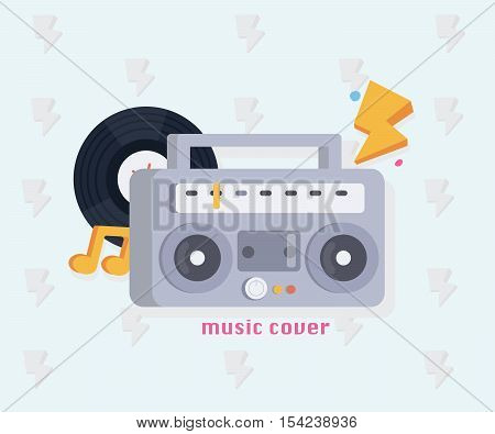 Music concept with music tools in flat style: Boombox, record, notes . Vector illustration