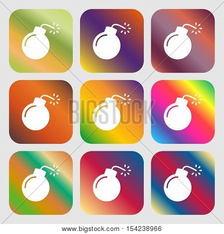 Bomb Icon Sign. Nine Buttons With Bright Gradients For Beautiful Design. Vector