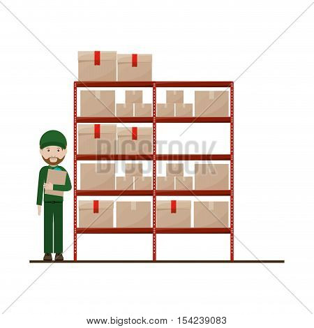 red shelves with sealed package and dispatcher vector illustration