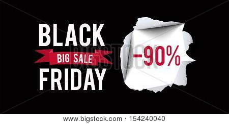 Black Friday sale design template. Black Friday 90 percent discount banner with black background. Vector illustration