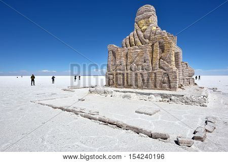 UYUNI BOLIVIA - AUGUST 28 2016: Dakar Rally Monument in Salar de Uyuni (Salt Lake) near Uyuni Bolivia.
