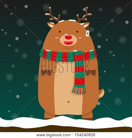 cute fat big reindeer Rudolf stand wear green and red pattern scarf on falling snow flake background