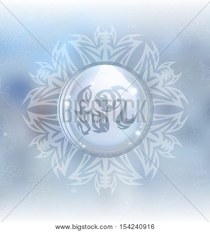 A vector illustration of a transparent snow globe in a snowflake frame on the blurred background with a zodiac sign Pisces. Includes transparent objects and opacity masks.