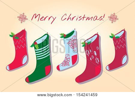 â??Merry Christmasâ?? card. Five Christmas stockings in a variety of colours and christmas designs, pinned to the wall with sprigs of holly with snowflakes.