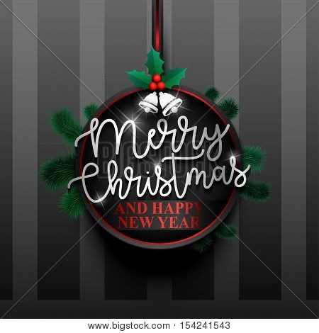 Merry Christmas paper card, badge, label, banner. Merry Christmas Holiday background with spruce twigs. Merry Christmas and Happy New Year for your site, design, poster. Vector illustration EPS10.