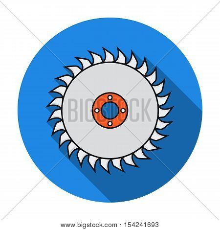 Saw disc icon in flat style isolated on white background. Sawmill and timber symbol vector illustration.