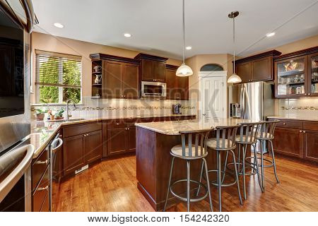 Well Remodeled Kitchen Room Interior With Dark Wood Cabinets