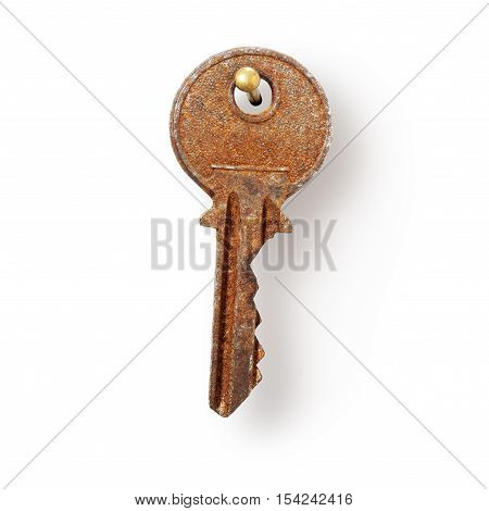 Old rusty house key hanging on nail white background clipping path included